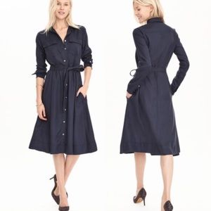 Banana Republic Navy Blue Midi Shirt Dress Sz S